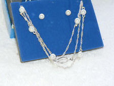NIB 2009 Silvertone AVON Faux Pearl 3-Strand Illusion Necklace Earring Set AV1