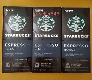 3 Pack STARBUCKS ESPRESSO ROAST by NESPRESSO 10 capsule NEW best before 06/2022
