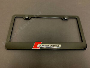 """1x """"SUPERCHARGED""""3D Emblem BLACK Stainless License Plate Frame RUST FREE +S.Caps"""