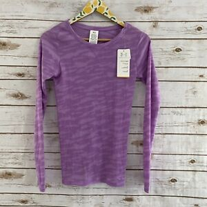 NWT Under Armour Purple Fitted Waffle Knit Long Sleeve Top Size XS