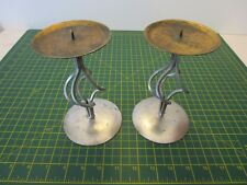 Pair Of Large Art Deco Style Metal Candlesticks for Art & Craft project
