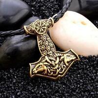 Herren Nordic Viking Mjolnir Anhänger Lederband Thors Hammer_Halskette X1S4