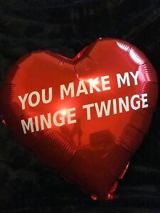 "Valentines Bespoke Red Heart Foil 18"" Balloon  You Make My Minge Twinge"