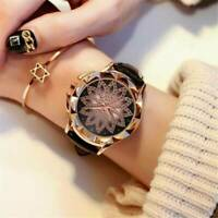 Casual Romantic Women Watch Starry Sky Leather Band Quartz Diamond Wrist Watches