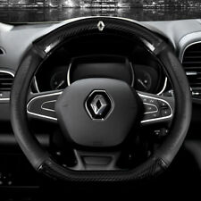 "15"" Car Steering Wheel Cover Genuine Leather For Renault Black"