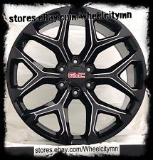 24 x10 inch gloss black milled 2018 GMC Denali Snowflake OE replica wheels 6x5.5