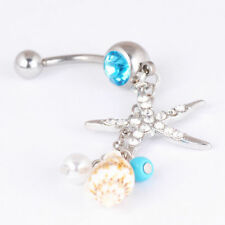 Belly Button Dangle Rings Crystal Starfish Bar Navel Ball Bar Body Piercing Gift