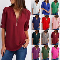Womens Long Sleeve Chiffon Tee Work Shirt Basic Ladies Blouse Loose Zipper Tops