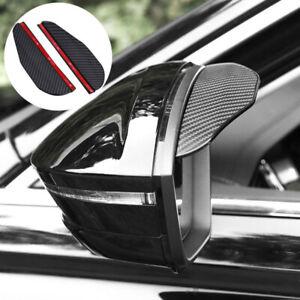 2x Car Carbon Fiber Black Rearview Side Mirror Rain Visor Guard Auto Accessories