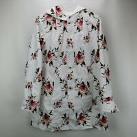 Susan Graver Floral Print Reversible A-Line Jacket with Hood White XS A274140