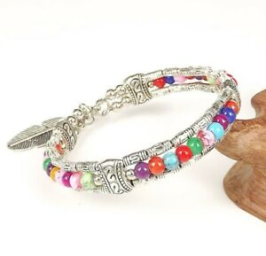 Ladies Jewelry Tibetan Bracelet Multicolor Turquoise Bead Bangle Woman Bracelet