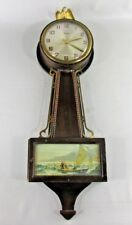Gilbert 1807 Wall Clock Wind Up 8 Day Banjo Eagle Antique - Repair