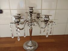 TRADITIONAL 5 ARM CANDLEABRA WITH GLASS CRYSTAL DROPLETS 13 INCH TALL VGC