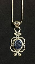 Beautiful Sterling Silver .925 Glittery Blue Druzy Pendant And Necklace -Jewelry