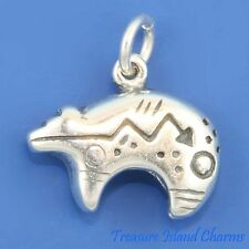 Native American Fetish Heartline Bear Carving 3D .925 Sterling Silver Charm