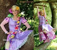 P128 Tangled Rapunzel Cosplay Costume women Princess dress Halloween