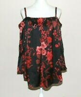 A. Byer Woman's Blouse Top Plus Size 2X Silky Black Hot Pink Roses Bell Sleeve