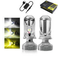 2x H4 Three Colors LED Headlight Bulb with Mini Projector Lens CANBUS LED Bulbs
