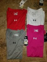 New Womens Under Armour Loose HeatGear AU Team T-Shirt Shirt Red Pink White Gray