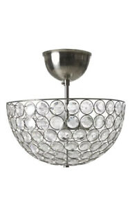 """IKEA SMULT Decorative Ceiling Light Lamp Chrome & Crystals 14"""" Dia.   NEW IN BOX"""