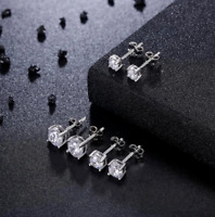 925 Sterling Silver Stud Earrings set with 2mm CZ stones