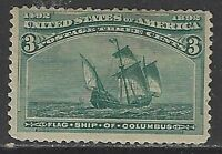 U.S. Mint Scott #232 3 Cent Columbian Green No Gum 1893
