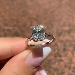 Real 10k White Gold 2.50 Ct Radiant Cut Solitaire Diamond Engagement Ring