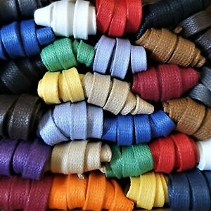 Waxed 100% Cotton Laces - 8/9 mm Flat - Lengths 75 cm to 240 cm