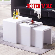 Design High Gloss White Nest of 3 Tables Rectangle MDF Side/end Coffee Table