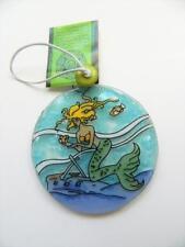 Mermaid w Shipwreck Fused Glass Ornament Fair Trade Ecuador