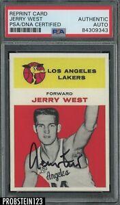 Jerry West HOF Signed 1961 Fleer RC Retro Reprint PSA PSA/DNA Authentic AUTO