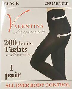 Ladies Women Black Thick Winter 200 denier Tights Luxury Soft Touch UK Size 8-18