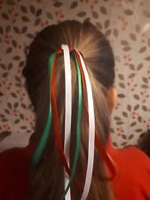 Wales / welsh colours  ribbon hair streamer bobble st davids day rugby