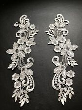 2x Silver Grey Floral Motif Applique Sewing Craft Venise Lace Trim Wedding
