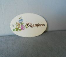 French Vintage toleware  Floral Plaque Sign  : CHAMBRE = bedroom