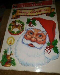 VTG CHRISTMAS SANTA ADORABLE  WINDOW CLINGS SHEET