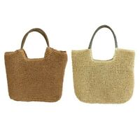 Women's Solid Color Woven Portable Straw Bag, Shopping All-Match Leisure Be K4Y2