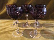 5 verres à vin roemers cristal doublé violet Bohème 12cl crystal wine glasses