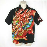 Vintage JNCO Jean Mens Button Up Shirt Size Medium Dragon Black