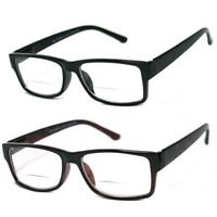 Man Woman Square Bifocal Vision Spring Temple Reading Glasses +1.00 to +4.00