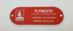 1949 1950 1951 1952 Plymouth Firewall  ID Tag