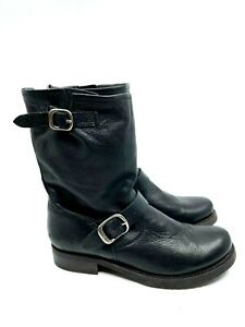 FRYE Black Leather Ankle Boots Adjustable Buckles Round Toe Rubber Sole Size 8B