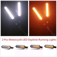 2 Pcs Yellow+White 24 LED Motorcycle DC 12V Flowing Indicator Turn Signal Lights