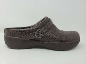 Dansko Alison Slip On Mule Size 8.5 9 Womens Tooled Embossed Leather Clogs