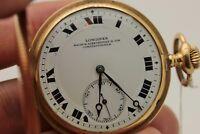 ANTIQUE ORIGINAL PERFECT 14K GOLD LONGINES MARK AMAZING POCKET WATCHES