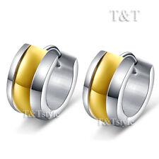 Thick Hoop Earrings (Eg46) T&T Stainless Steel Gold Stripe
