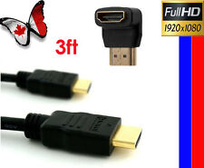 3FT Gold 1.4 High Speed HDMI Cable + Right Angle HDMI M/F Adapter w/Ethernet 3D