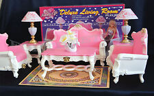 GLORIA DOLLHOUSE FURNITURE Deluxe LIVING ROOM W/ SOFA TABLE LAMPS PLAYSET