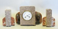 Unique Art Deco Granite & Bronze Clock Garniture w/ Turkeys  c. 1930  antique