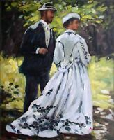Hand Painted Oil Painting Repro Claude Monet Bazille and Camille 20x24in